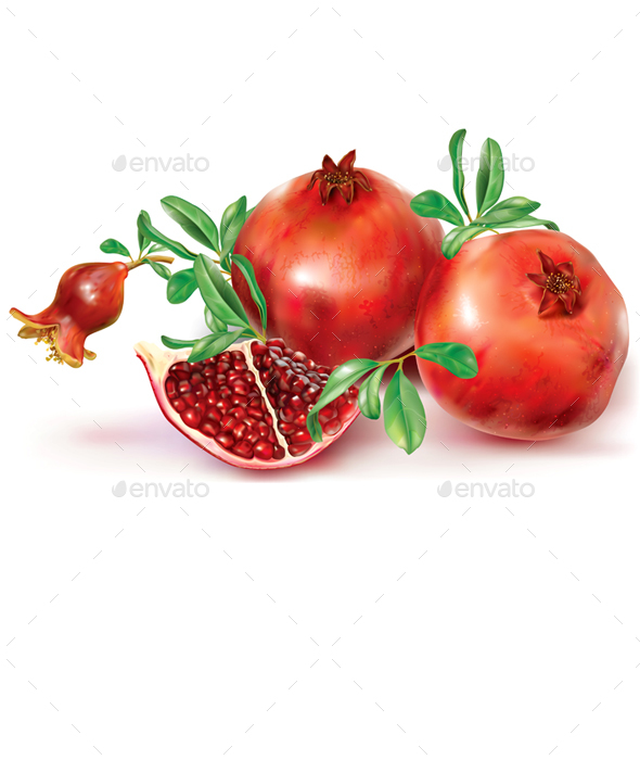 Pomegranate Fruits and Cut Fruit - Food Objects