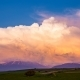 Volumetric Colorful Storm Clouds Swirl Over the Mountains. Timelaps - VideoHive Item for Sale