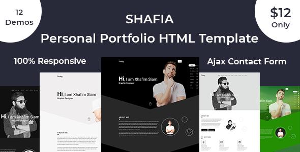 Shafia Creative Responsive Personal Portfolio Template - Portfolio Creative