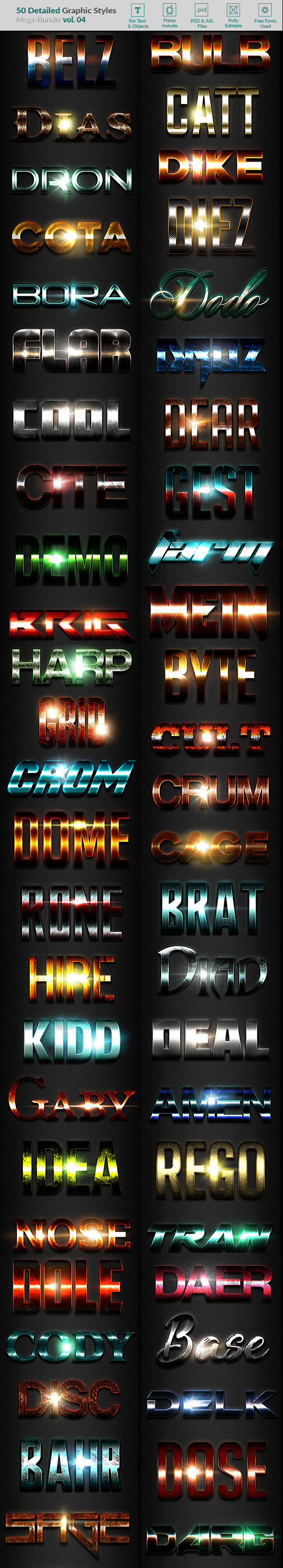 50 Text Effects - Bundle Vol. 04 - Styles Photoshop