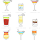 Poster Set of Flat Cocktails