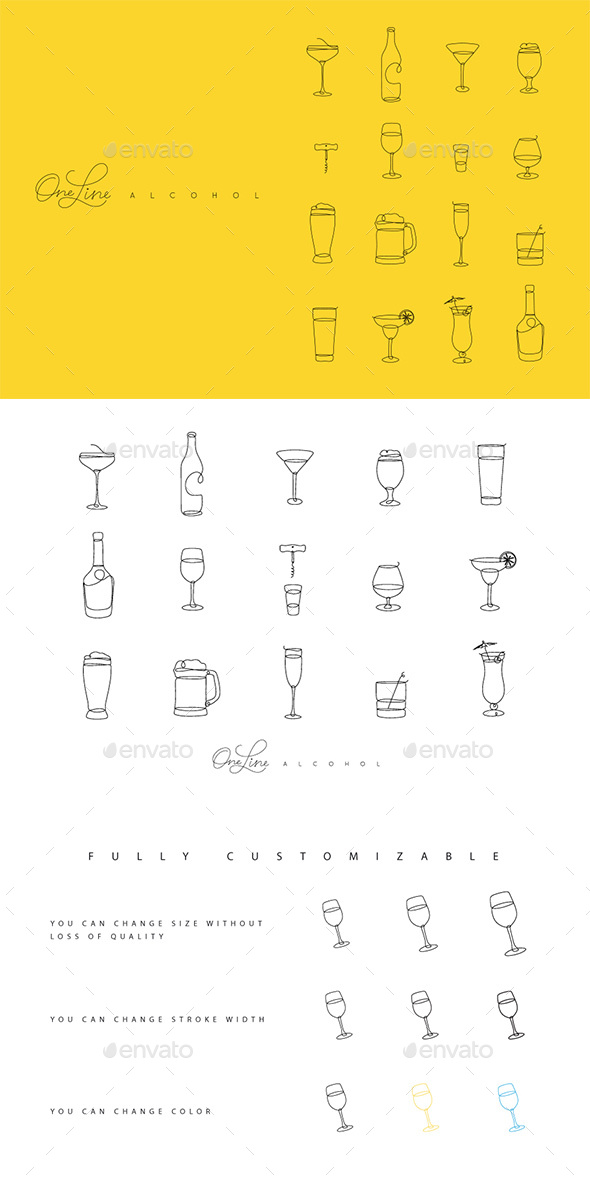 One Line Alcohol Icons - Food Objects