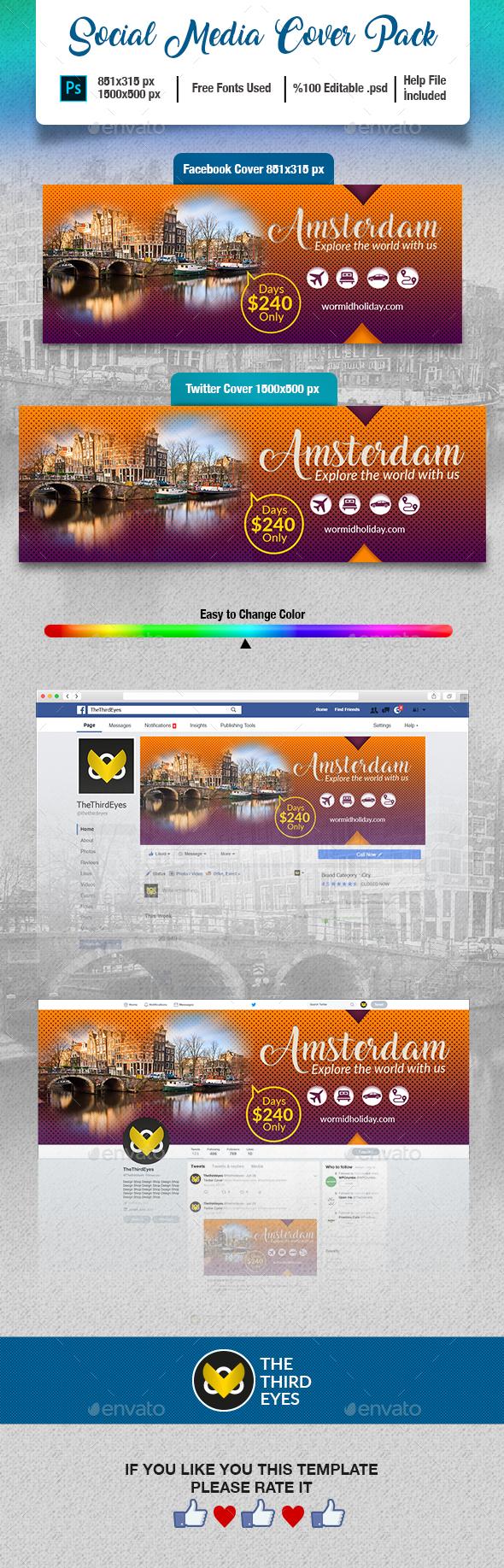 Travel Social Media Cover Pack