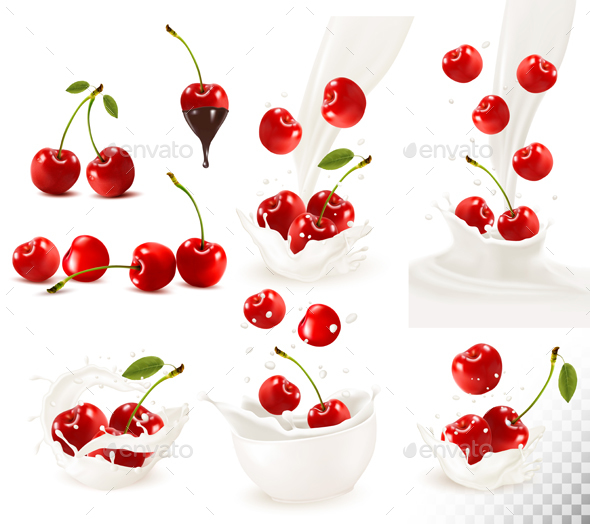 Set Of Ripe Sweet Cherries With Leaves And Splash Of Milk. - Food Objects