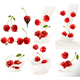 Set Of Ripe Sweet Cherries With Leaves And Splash Of Milk. - GraphicRiver Item for Sale