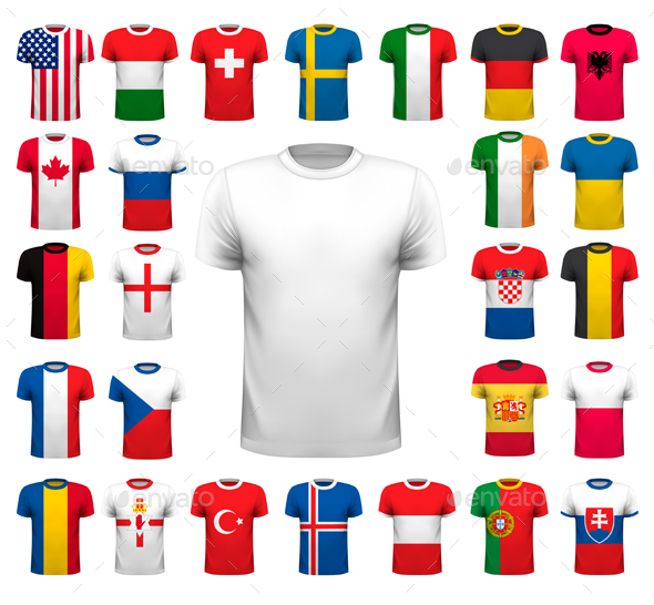 Collection Of Various Soccer Jerseys, Vector - Sports/Activity Conceptual