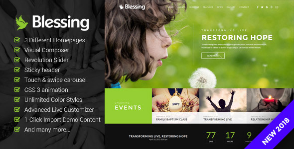 Blessing | Responsive WordPress Theme for Church Websites - Churches Nonprofit