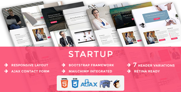 Startup - Multipurpose Responsive HTML Landing Pages - Business Corporate