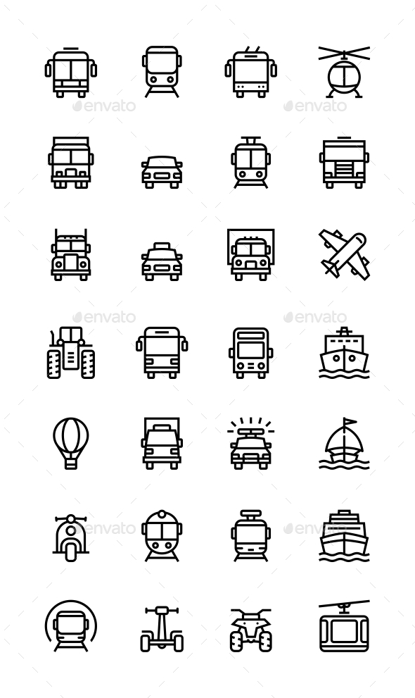 Transport, Vehicle, Truck and Car Simple Vector Icons for Web and Mobile Design Set - Icons