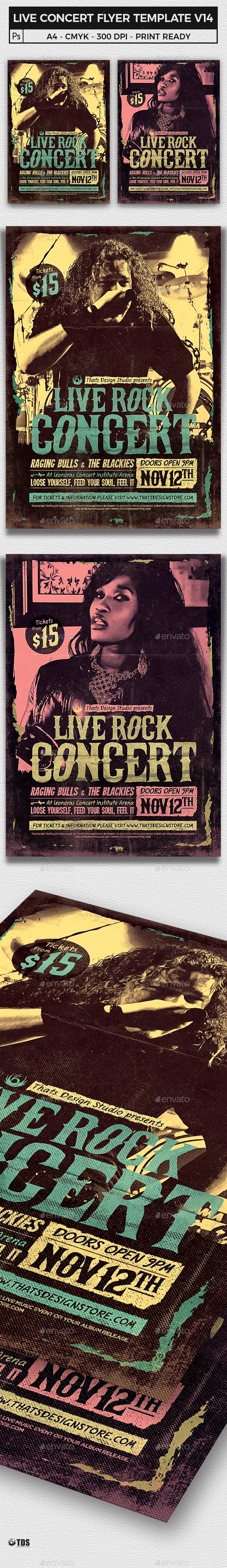 Live Concert Flyer Template V14 - Concerts Events