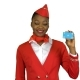 Afro American Stewardess Girl Raises a Card and Shows a Okey . Alpha Channel - VideoHive Item for Sale