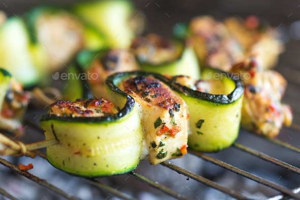 Chicken skewers - Stock Photo - Images