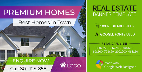 Real Estate | Premium Home Ad Banners - 7 Sizes            Nulled