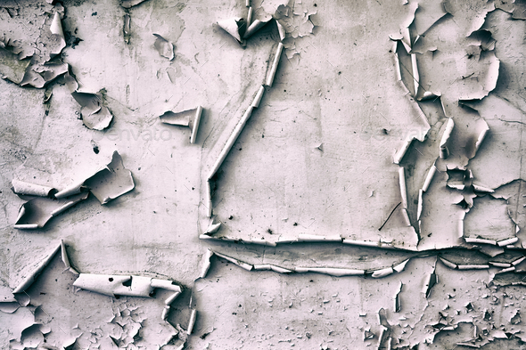 Wall with peeling paint, grunge background. - Stock Photo - Images