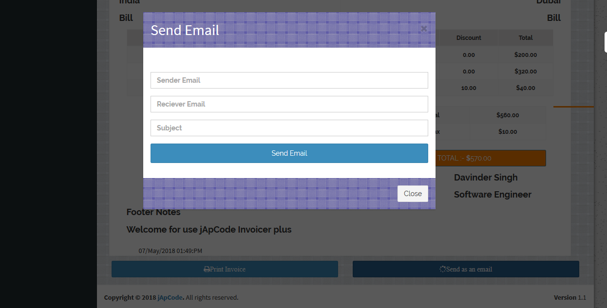 Invoicer Plus (Invoice Generator) Open Source Asp.net Mvc  5 Print   Email   Edit able Invoice - 6