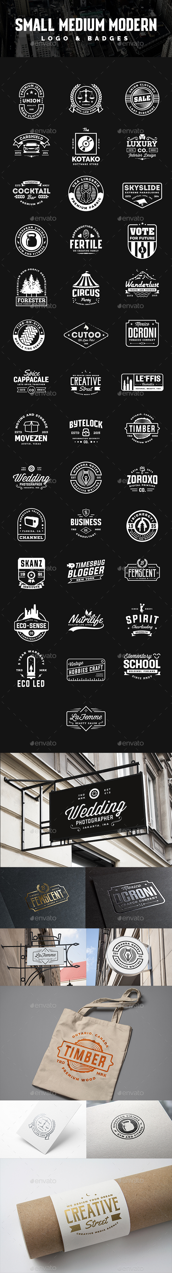 40 Small Medium Business Modern Vintage Logo and Badges - Badges & Stickers Web Elements