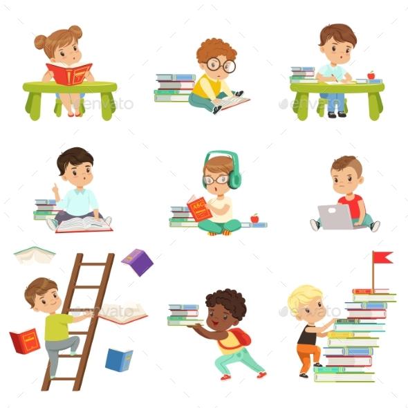 Smart Little Kids Reading Books Set - Miscellaneous Vectors