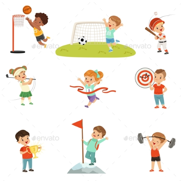 Cute Little Children Playing Different Sports - Sports/Activity Conceptual