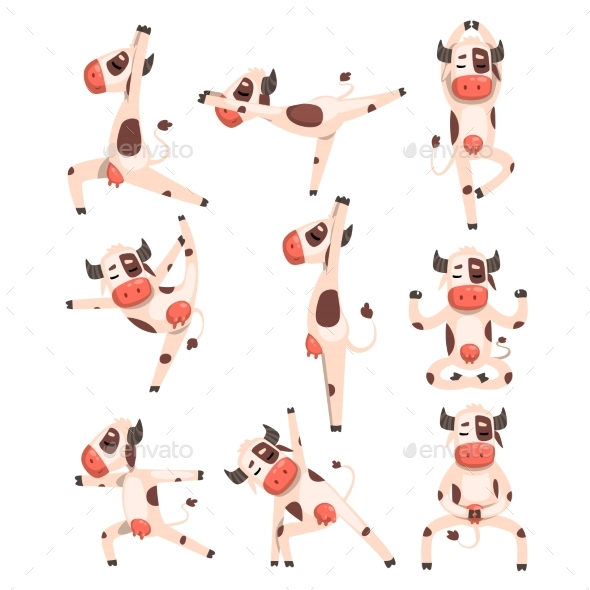 White Spotted Cow Set - Animals Characters