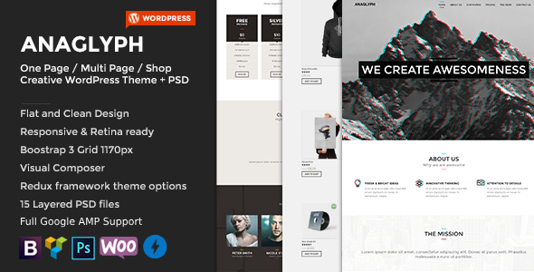 ANAGLYPH - One page / Multi Page WordPress Theme - Creative WordPress