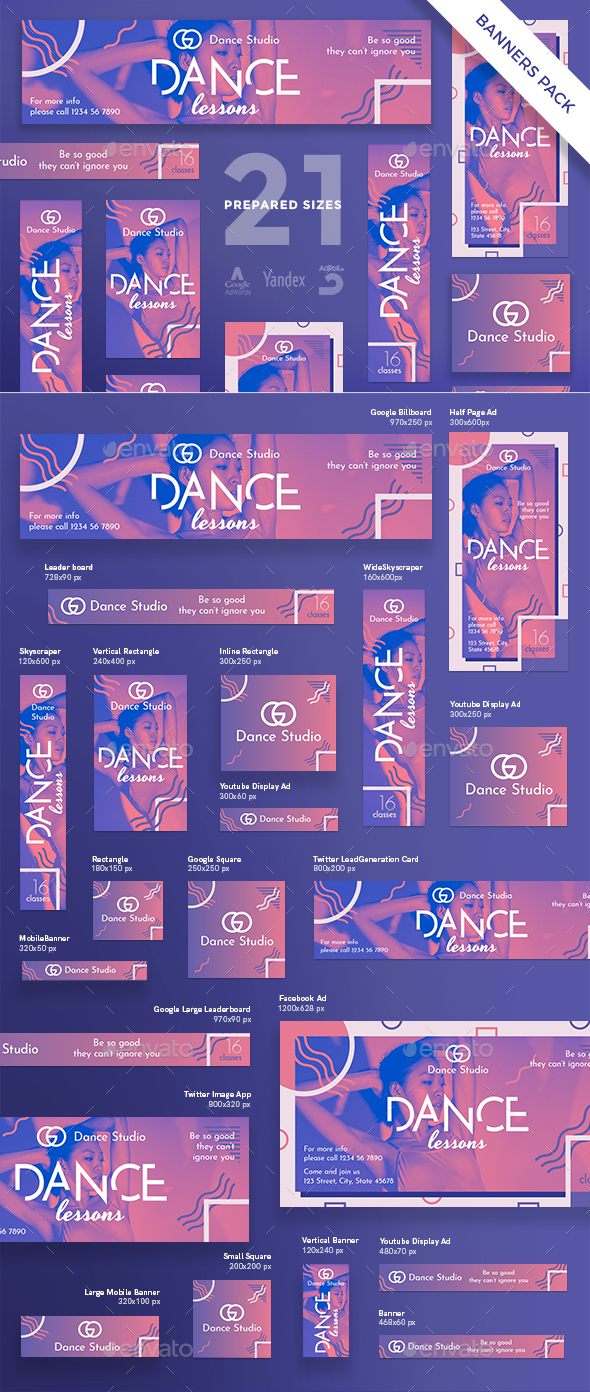 Dance Lessons Studio Banner Pack - Banners & Ads Web Elements