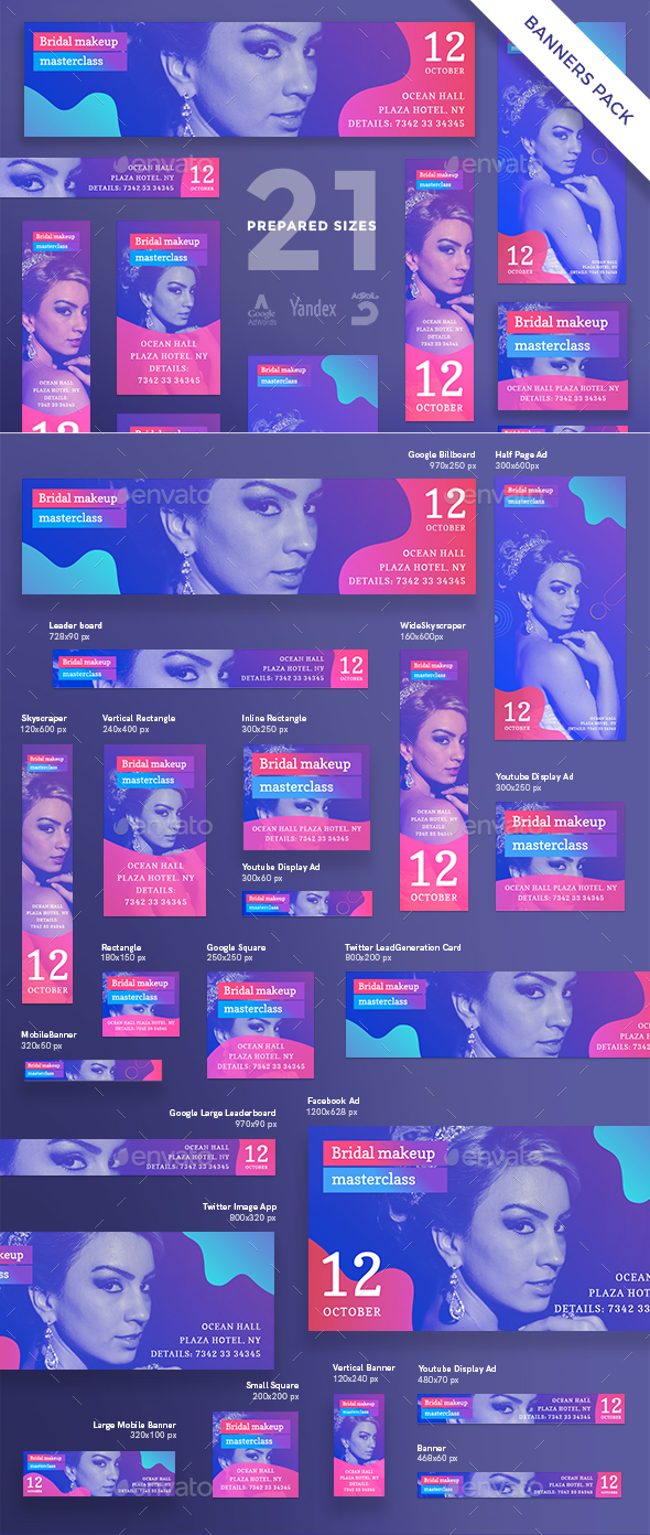 Bridal Makeup Masterclass Banner Pack - Banners & Ads Web Elements
