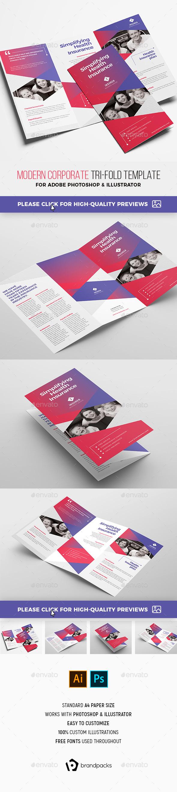 Modern Corporate Tri-Fold Brochure Template - Corporate Brochures