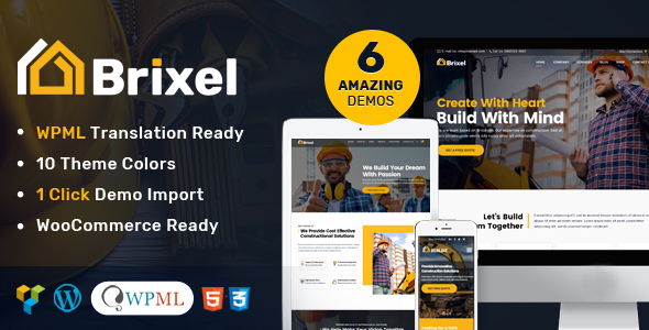 Brixel Building Construction WordPress Theme - Business Corporate