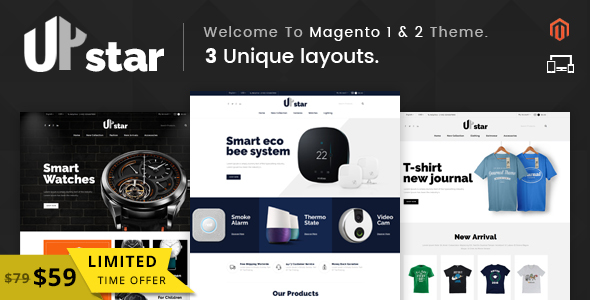 Image of UpStar - Responsive Magento 1 & 2 Theme