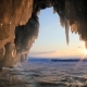 Winter Baikal. Ice Cave with Icicles at Sunset. - VideoHive Item for Sale