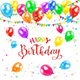 Happy Birthday and Balloons with Pennants and Confetti - GraphicRiver Item for Sale