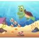 Sea Underwater Background with Cartoon Turtle