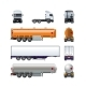 Vector Realistic Semi Truck Mockup Set Isolated