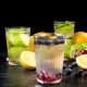 Two Glasses with Cucumber Water and Two with Homemade Lemonade - VideoHive Item for Sale