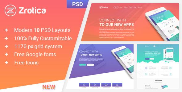 Zrotica - App Landing PSD Template - PSD Templates