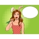 Girl with Bunny Ears Pop Art Vector