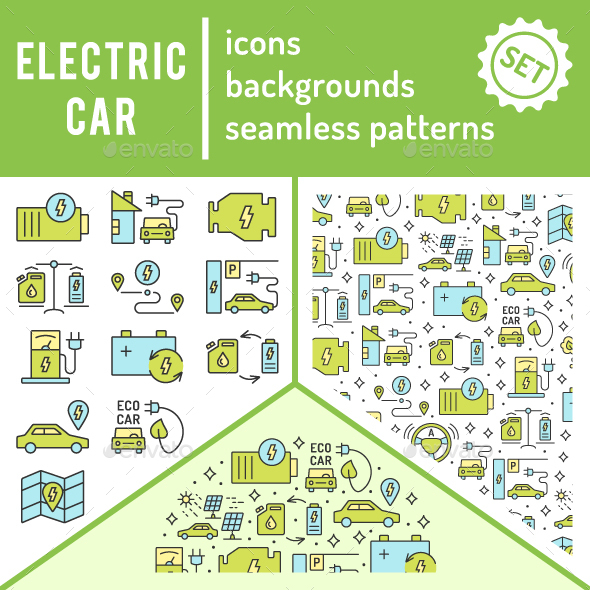 Electric Car Icons Set 9 in 1 - Technology Icons