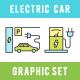 Electric Car Icons Set 9 in 1