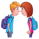 Teen Boy and Girl Staring at Each Other - GraphicRiver Item for Sale