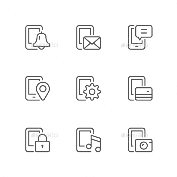 Set Line Icons of Mobile Phone Functions - Man-made objects Objects