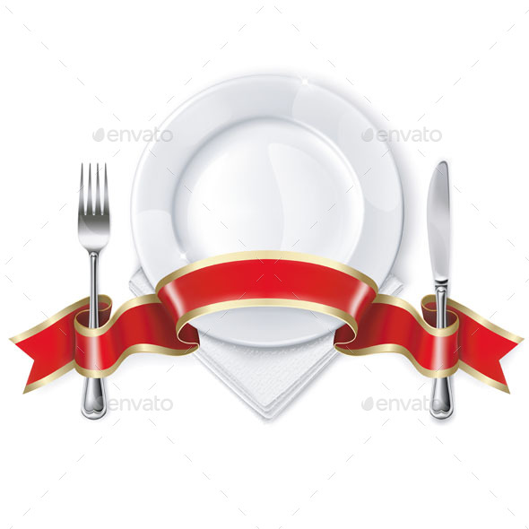 Plate with Ribbon, Spoon, Knife and Fork - Food Objects