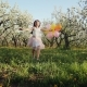Happy Girl with Balloons Running in the Garden - VideoHive Item for Sale