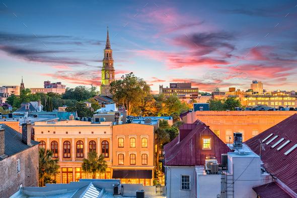 Charleston, South Carolina, USA Skyline - Stock Photo - Images