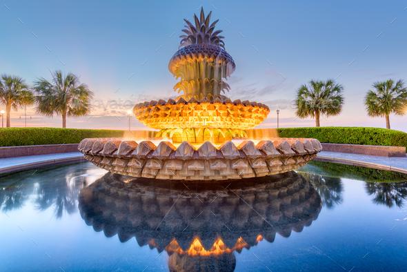 Charleston, South Carolina, USA Fountain - Stock Photo - Images