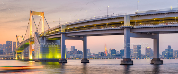 Tokyo, Japan at Rainbow Bridge - Stock Photo - Images