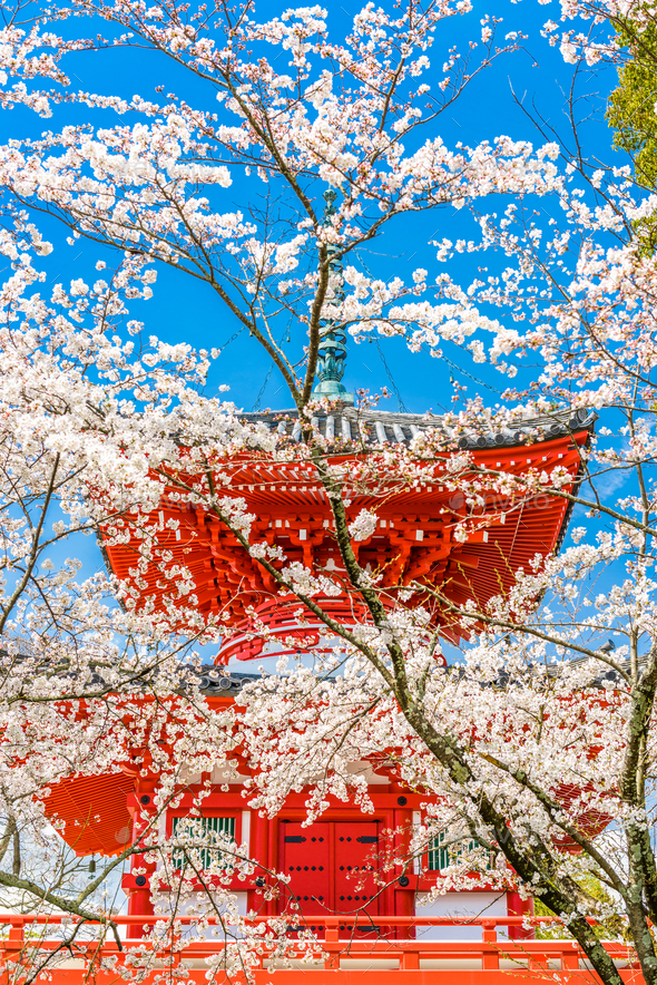 Kyoto, Japan Temple in Spring - Stock Photo - Images
