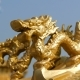 Golden Statue of the Chinese Dragon in the Temple Complex. Ornament and Decoration in Chinese Temple - VideoHive Item for Sale