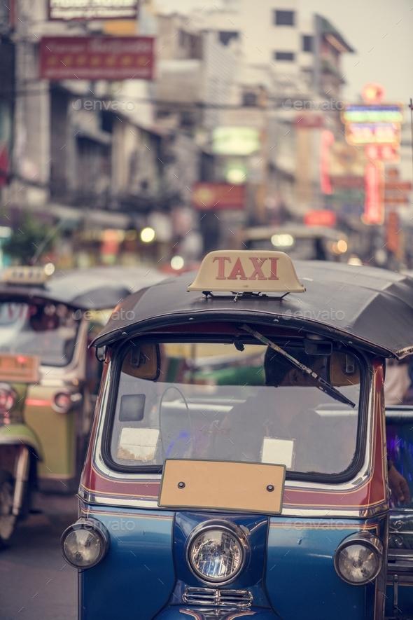 Tuk tuk in Bangkok Thailand - Stock Photo - Images