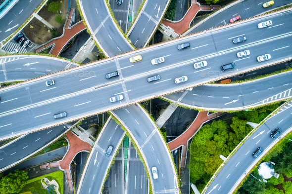 aerial view of city overpass, elevated road junction closeup  - Stock Photo - Images