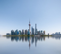 shanghai skyline reflected in the huangpu river, abstract metropolis cityscape - PhotoDune Item for Sale